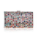 cheap Clutches & Evening Bags-Women's Bags Polyester Evening Bag Crystals Rainbow