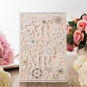 olcso Gyűrűpárna-Lapos kártya Esküvői Meghívók 20db - Meghívók Művészeti stílus Menyasszony és vőlegény stílusa Virágos Virágos stílus Dombornyomású papír