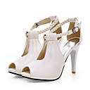 baratos Sandálias Femininas-Mulheres Sapatos Micofibra Sintética PU Primavera / Verão Conforto / Inovador Sandálias Salto Alto Peep Toe Presilha Branco / Preto / Bege