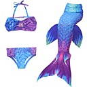 cheap Kids Halloween Costumes-The Little Mermaid Skirt / Swimwear / Bikini Christmas / Masquerade Festival / Holiday Halloween Costumes Purple / Red / Blue Color Block Mermaid and Trumpet Gown Slip / Bikini / Sequins