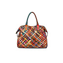 cheap Shoulder Bags-Women's Bags Cowhide Tote Buttons Embroidery Rainbow