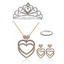 ieftine Colier la Modă-Pentru femei Set bijuterii - Diamante Artificiale Inimă European, Modă Include Coliere cu Pandativ Seturi de bijuterii de mireasă Auriu / Argintiu Pentru Nuntă Petrecere