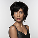 abordables Pelucas Sintéticas con Agarre-Pelo humano pelucas sin tapa Cabello humano Ondulado Natural Parte lateral Corta Hecho a Máquina Peluca Mujer