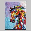 tanie Obrazy: motyw zwierzęcy-Hang-Malowane obraz olejny Ręcznie malowane - Zwierzęta Zwierzęta / Nowoczesny Zwinięte płótna / Zwijane płótno