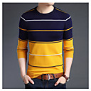 cheap Night Lights-Men's Basic Long Sleeve Pullover - Striped, Print Round Neck