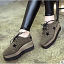 olcso Női Oxford cipők-Női Cipő PU Tél Kényelmes Félcipők Lapos Zárt orrú Fekete / Katonai zöld