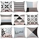 cheap Artificial Flower-9 pcs Linen Pillow Cover, Geometric Art Deco Plaid/Check