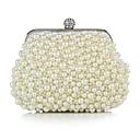 cheap Wedding Wraps-Women's Bags Silk Evening Bag Pearls White / Black / Beige