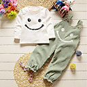 cheap Girls' Jackets & Coats-Girls' Striped Clothing Set, Cotton All Seasons Long Sleeves Simple Cute Street chic Green Gray Wine