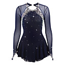 cheap Human Hair Wigs-Figure Skating Dress Women's / Girls' Ice Skating Dress Dark Blue Spandex Rhinestone High Elasticity Performance Skating Wear Handmade