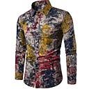 abordables Maillots Ciclismo-Hombre Tejido Oriental Boho Discoteca Lino Camisa, Cuello Mao Floral
