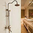 tanie Swing Arm Lights-Bateria prysznicowa - Antyczny Miedź antyczna Umieszczona centralnie Zawór ceramiczny / Mosiądz / Jeden uchwyt Dwa otwory