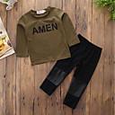 זול סטים של ביגוד לבנים-בנים יום יומי / פעיל / פאנק & גותיות כותנה מכנסיים - אחיד / אותיות ירוק צבא / ספורט / פעוטות