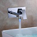 billige Dusjforheng-Moderne Vægmonteret LED Keramisk Ventil Enkelt håndtak To Huller Krom, Baderom Sink Tappekran