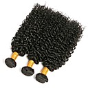 cheap Natural Color Hair Weaves-Brazilian Hair Kinky Curly Natural Color Hair Weaves 3 Bundles 8-28 inch Human Hair Weaves Natural Black Human Hair Extensions Women's