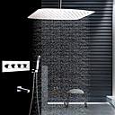 זול ברזים למקלחת-עכשווי רכוב תיקרה מקלחת גשם שפורפרת יד כלולה תרמוסטטי שסתום קרמי ארבע ידיות ארבעה חורים פלדת אל חלד, ברז למקלחת