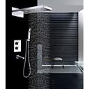 זול אומנות ממוסגרת-עכשווי מותקן על הקיר מקלחת גשם מפל מים שפורפרת יד כלולה תרמוסטטי שסתום קרמי שתי ידיות ארבעה חורים כרום, ברז למקלחת