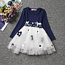 cheap Girls' Dresses-Girl's Daily Holiday Floral Dress, Cotton All Seasons Long Sleeves Cute Casual Blue Red Blushing Pink