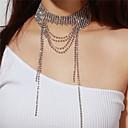 זול שרשרת אופנתית-בגדי ריקוד נשים שכבות שרשראות מחרוזת - יהלום מדומה שכבות מרובות כסף שרשראות תכשיטים עבור Party, מתנה