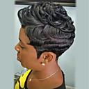 olcso Szintetikus parókák-Emberi hajszelet nélküli parókák Emberi haj Göndör Pixie frizura Afro-amerikai paróka Rövid Géppel készített Paróka Női