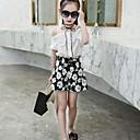 זול סטים של ביגוד לבנות-סט של בגדים כותנה קיץ יומי אחיד פרחוני בנות יום יומי לבן