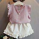 cheap Girls' Clothing Sets-Girls' Daily Solid Clothing Set, Cotton Summer Sleeveless Blushing Pink Light Blue