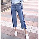 baratos Brincos-Mulheres Cintura Alta Algodão Jeans Calças - Sólido