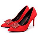 זול נעלי ילדים-בגדי ריקוד נשים נעליים משי אביב / סתיו בלרינה בייסיק עקבים עקב סטילטו בוהן מחודדת ריינסטון שחור / אדום / חתונה / מסיבה וערב / מסיבה וערב