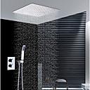 זול ברזים למקלחת-עכשווי התקנת קיר מקלחת גשם שפורפרת יד כלולה תרמוסטטי שסתום קרמי שתי ידיות שלושה חורים כרום, ברז למקלחת