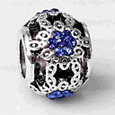זול חרוזים-תכשיטים DIY 1 יח חרוזים יהלום מדומה סגסוגת כסף כדור חָרוּז 0.2 cm עשה זאת בעצמך שרשראות צמידים