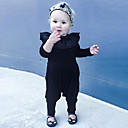 cheap Baby Girls' One-Piece-Baby Girls' Daily Solid One-Pieces, Cotton Linen Bamboo Fiber Acrylic Spring Simple Short Sleeves Black Yellow