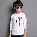 baratos Camisas para Meninos-Infantil Para Meninos Simples Activo Sólido Letra Estampado Manga Longa Algodão Camiseta Branco / Fofo