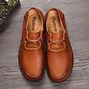 זול סניקרס לגברים-בגדי ריקוד גברים עור אביב / סתיו נוחות נעליים ללא שרוכים שחור / קאמל