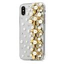 זול מגנים לטלפון & מגני מסך-מגן עבור Apple iPhone X / iPhone 8 Plus ריינסטון כיסוי מלא פרח קשיח עור PU ל iPhone X / iPhone 8 Plus / iPhone 8