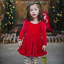 baratos Sapatos de Bebês-bebê Para Meninas Simples Natal / Diário Sólido Manga Curta Padrão Padrão Algodão / Linho / Fibra de Bamboo Vestido Vermelho 100 / Bébé