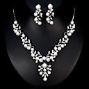 baratos Conjuntos de Bijuteria-Mulheres Conjunto de jóias - Pérola Europeu, Fashion Incluir Prata Para Casamento Diário