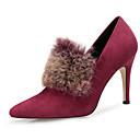 זול מגפי נשים-בגדי ריקוד נשים נעליים נוצות\פרווה / עדרים סתיו / חורף מגפיים אופנתיים מגפיים עקב סטילטו בוהן מחודדת נוצות שחור / ירוק / בורדו / שמלה