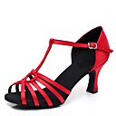 olcso Latin cipők-Női Latin cipők Szatén Magassarkúk Személyre szabott sarok Személyre szabható Dance Shoes Fekete / Mandula / Piros / Otthoni / Bőr