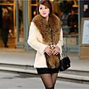 cheap Women's Sandals-Women's Fur Coat - Solid Colored V Neck