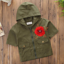 זול מדבקות קיר-חולצה כותנה פוליאסטר אביב קיץ שרוולים קצרים יומי ספורט אחיד פרחוני בנות פשוט יום יומי ירוק צבא