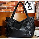 cheap Shoulder Bags-Women's Bags PU Shoulder Bag Zipper Black