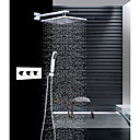 お買い得  シャワー用蛇口-コンテンポラリー 壁式 レインシャワー ハンドシャワーは含まれている サーモスタットタイプ セラミックバルブ 3つのハンドル三穴 クロム, シャワー水栓