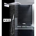 preiswerte Badarmaturen-Moderne Wandmontage Regendusche Wasserfall Handdusche inklusive Thermostatische Keramisches Ventil Vier Griffe Drei Löcher Chrom,