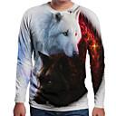 baratos Sapatilhas e Mocassins Masculinos-Homens Camiseta Moda de Rua Animal Decote Redondo Lobo