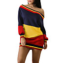 cheap Girls' Dresses-Women's Going out Street chic Cold Shoulder Sheath T Shirt Dress - Striped Color Block Backless Mini Boat Neck