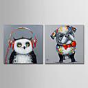 זול ציורי פרחים/צמחייה-ציור שמן צבוע-Hang מצויר ביד - חיות עכשווי מודרני בַּד