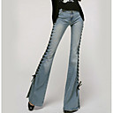 זול תחתוני נשים-בגדי ריקוד נשים כותנה ג'ינסים מכנסיים - גיזרה גבוהה אחיד / סתיו