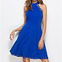 cheap Speakers-Women's Basic A Line Dress - Solid Color Blue High Waist Crew Neck