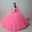 baratos Roupas para Barbies-Vestidos Uma-Peça Para Boneca Barbie Rosa cor de Rosa Cetim/Tule Vestido Para Menina de Boneca de Brinquedo