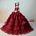 tanie Akcesoria dla lalek-Sukienki Jednoczęściowy Dla Barbiedoll Czerwony Mieszanka len / bawełna Sukienka Dla Dziewczyny Lalka Zabawka